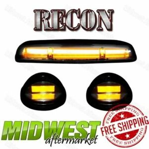 Recon Smoke Oled Cab Roof Lights W Amber Leds Fits 02 07 Sierra Silverado 1500