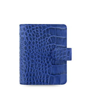 Filofax Pocket Size Classic Croc Organiser Planner Diary Indigo Leather 026006