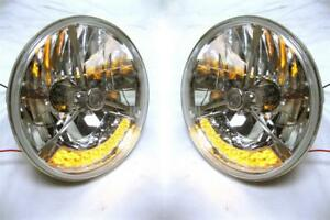 Street Hot Rod 7 Tri Bar Clear Dot H4 Headlights W Amber Led Turn Signals 12v