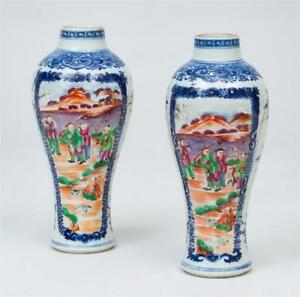 Pair 18th C Chinese Export Porcelain Vases Blue White Fitzhugh Famille Rose