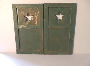 Pair Antique Small Star Window Wood Shutter Texas Lodge Cottage 28x16 447 17p