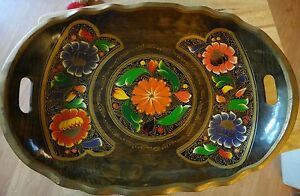 Vintage Tray Bowl Wood Hand Painted Tole Handle Red Purple Orange Flowers Mexico