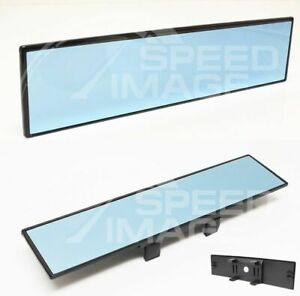 Jdm Blue Glass 300mm Wide Flat Rear View Mirror Clip On W anti glare Blue Tint