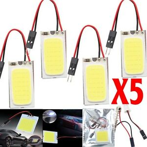 5x White 48 Smd Cob Led T10 4w 12v Car Interior Panel Light Dome Lamp Bulb Hot