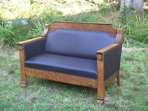 Antique Arts Crafts Oak Loveseat Couch Sofa Oak And Leather
