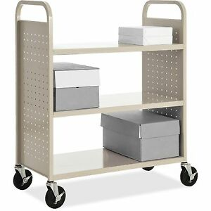 Lorell Flat shelf Book Cart 3 shelf 39 x19 x46 Putty 49203