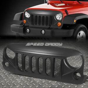 For 07 17 Wrangler Unlimited Jk Matte Black Angry Bird Mesh Front Grille Guard