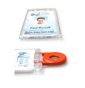 Enclosed Lockable Id Card Badge Holder Portrait Vertical With Key