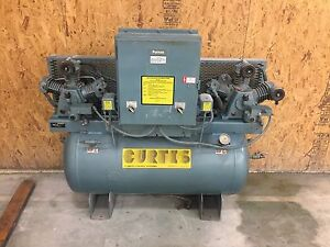 Curtis Duplex Tank Mounted Compressor 3 Hp All Voltages Climate Control 11 3 Cfm