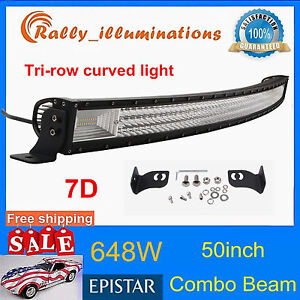 7d Tri Row 50inch 648w Curved Led Light Bar Driving Offroad Combo Drl Suv Pk 52