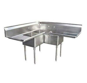 3 Compartment Corner S s Sink 18 x18 2 Drainboards 57 Stainless Steel 3 Bay