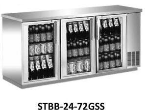Saba Air All Stainless Steel Back Bar Glass Door Bottle Cooler 48 60 Or 72