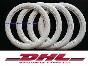 8 Inches Vintage Micro Car White Rubber Ring 4pcs