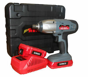 24v Lithium 1 2 Cordless Impact Wrench Ratchet 2 Batteries In Case Heavy Duty