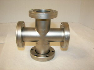 Varian High Vacuum Research Chamber 4 way Flange 2 75 4 Rotate Mdc