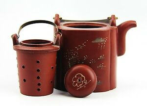 Chinese Yixing Zisha Clay Artistic Polished Red Teapot And Cover New 16