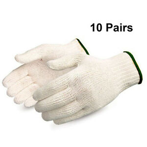 Rom America 10 Pairs White Factory Industry Protect Knitted Cotton Work Gloves