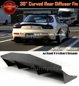 30 X 12 Abs Black Universal Rear Bumper Fins Curved Diffuser For Mazda Subaru