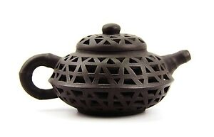 Chinese Yixing Zisha Clay Artistic Double Walled Reticulated Brown Teapot 35