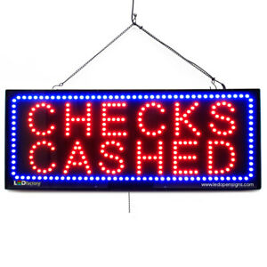 High Quality Large Led Open Signs Check Cashed 13 x32 Led factory 2646