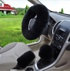 3pc Black Australia Wool Fuzzy Autocar Steering Wheel Cover Universal Winter Us