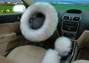 White With Tip Australia Wool Fuzzy Autocar Steeringwheel Cover Universal Winter