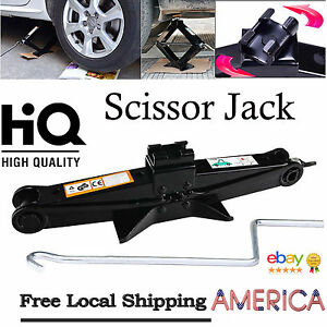 Hi q 2ton Tonne Scissor Jack Wind Up Lift For Car Van With Crank Speed Handle Us