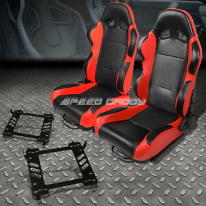 Pair Of Black Pvc Reclinable Red Trim Racing Seat Bracket For 06 11 Honda Civic