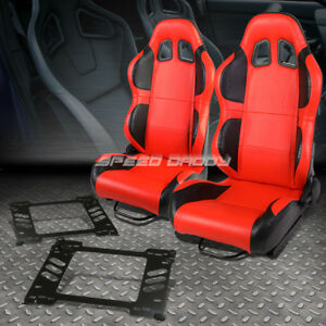 Pair Of Red Pvc Reclinable Black Wing Racing Seat Bracket For 91 95 Honda Civic