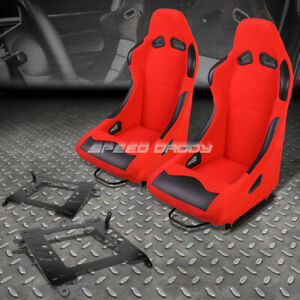 Pair Black Red Cloth Bucket Type R Racing Seat Bracket For 00 05 Toyota Celica