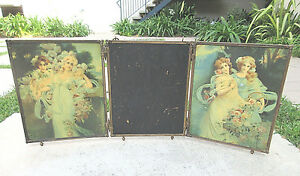 Collectible 1899 Antique Brass Tri Fold Celluloid Back Bevel Glass Vanity Mirror