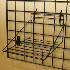 Wire Shirt Display Shelf Slatwall Gridwall Pegboard Slatgrid Black Lot Of 10 New