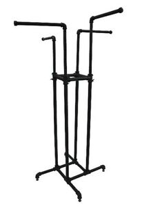 4 Way Rack Clothing Garment Display Retail Industrial Fixture 30 Wide Black New