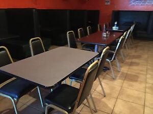Mexican Restaurant Chairs Booths For 120 People Black Chairs Green Booths