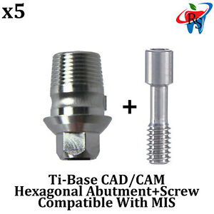 5x Dental Implant Cad cam Connection Ti base Abutment Int Hex Mis Compatible