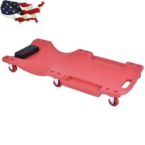 36 Large Wheel Plastic Creeper Tool Lightweight Portable Red Color Us Stock