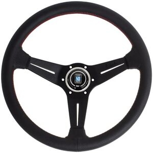 Nardi Deep Corn Sport Rally Steering Wheel Black W Red Stitching 6069 35 2093