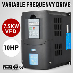 10hp 7 5kw 34a Variable Frequency Drive Vfd 3 Phase Single Speed Inverter 220vac