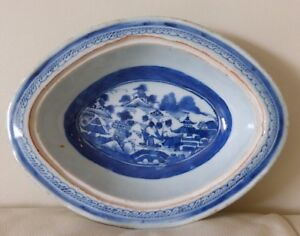 Vintage Chinese Canton Blue And White Bowl