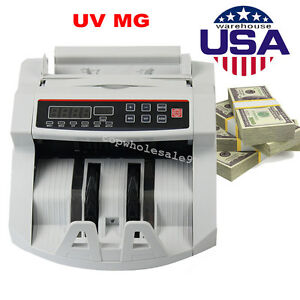 Us Money Bill Cash Counter Currency Counting Machine Uv Mg Counterfeit Detector
