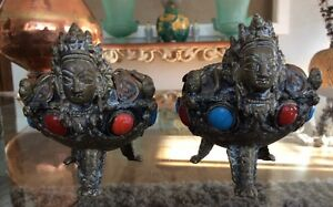 Rare Antique Pair Goddess Tara Bronze Footed Ashtray Turquoise Coral Tibet Nepal