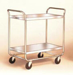 Two Shelf Stainless Steel Utility Cart With Chrome Plated Legs And Frame 23