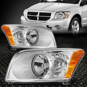 For 2007 2012 Dodge Caliber Pair Chrome Housing Amber Corner Headlight lamp Set