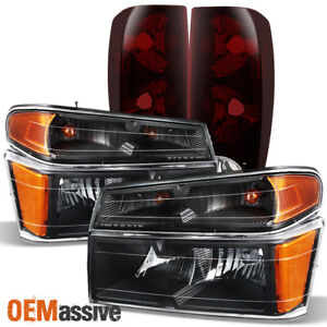 Fits 2004 2012 Chevy Colorado Gmc Canyon Black Headlights Dark Red Tail Lamp