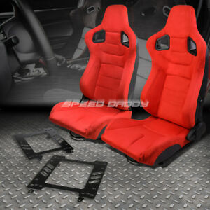 2x Red Suede Rear Carbon Fiber Look Racing Seat Bracket For 02 07 Subaru Wrx Sti