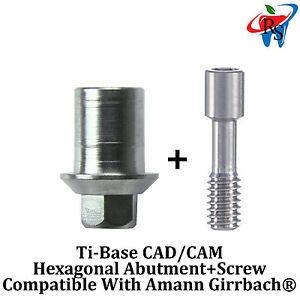 5x Dental Implant Cad cam Connection Ti base Int Hex Amann Girrbach Compatible