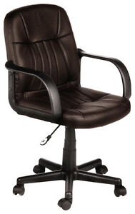 Comfort Products Inc Leather Mid back Chair Chocolate Brown