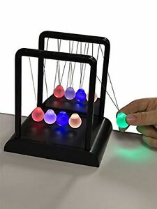 Newton s Multi color Light Up Cradle W Led Glass Balls And Mirror For Desktops