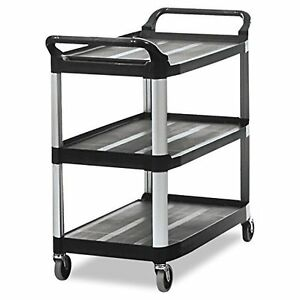 Rubbermaid Commercial 409100 Bla Xtra Service And Utility Cart 3 shelf