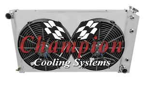1978 1987 Chevy Monte Carlo 3 Row Champion Radiator With Shroud And Spal Fans